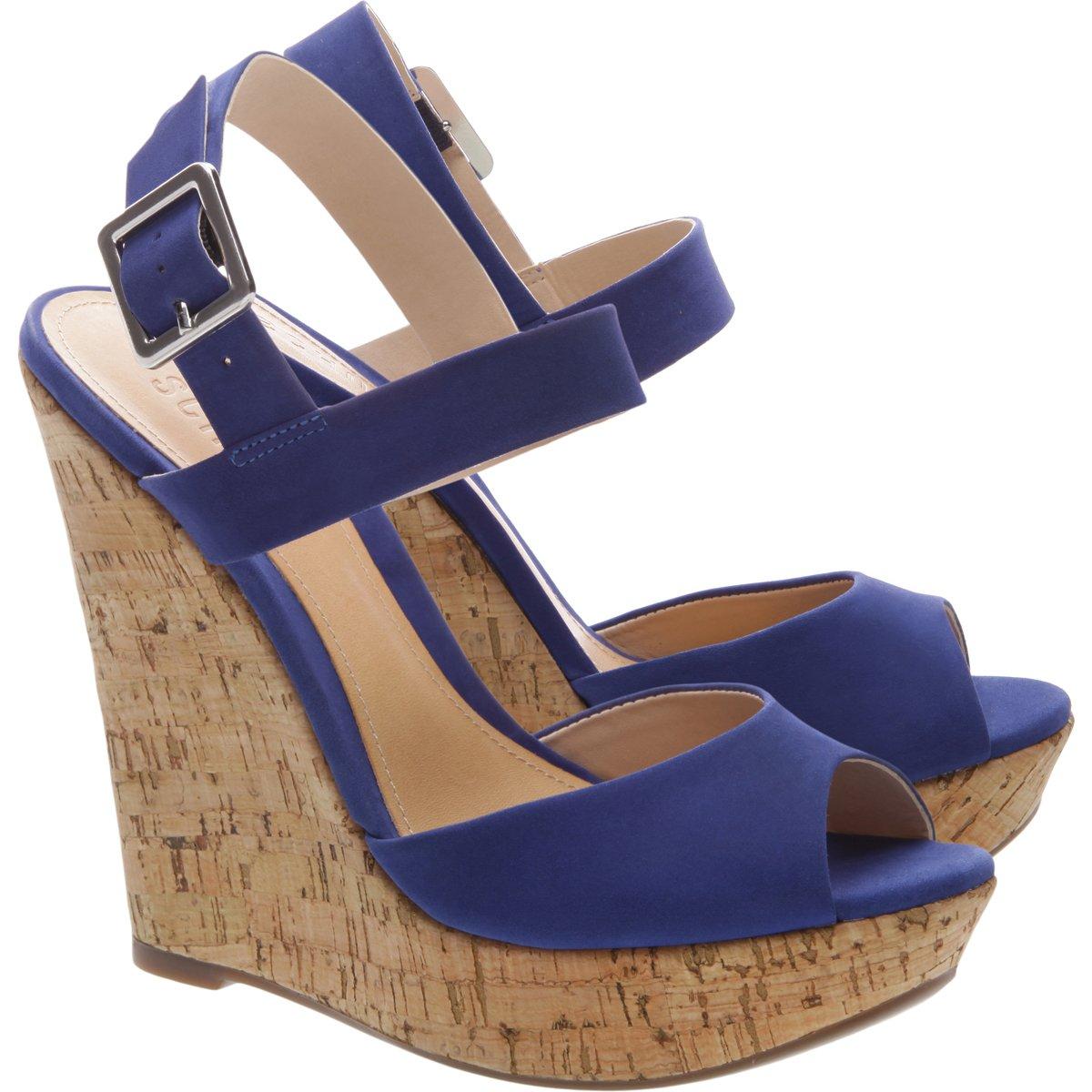 Schutz Raffe Jeans Blue High Heel Peep Toe Platform Sandal 11, Jeans