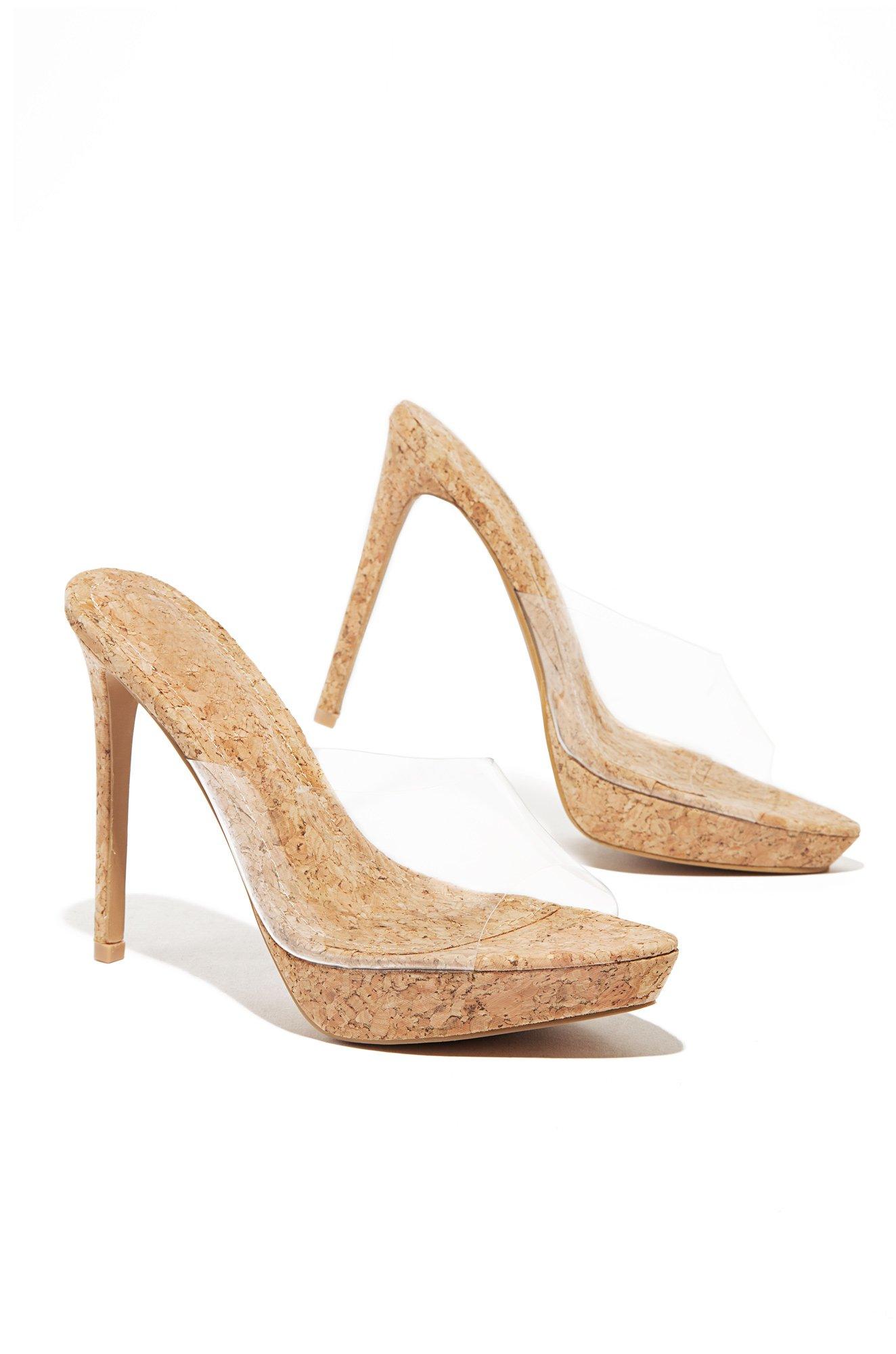 041cc4c2604 Details about Cape Robbin Worship Cork Clear Wrap Comfortable Open Toe  Stiletto Heeled Sandals