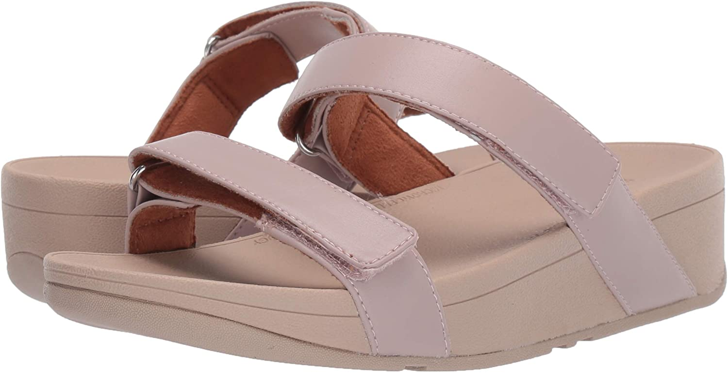 FitFlop Women's Vernita Slides Sandal Cool Taupe Leather Wed