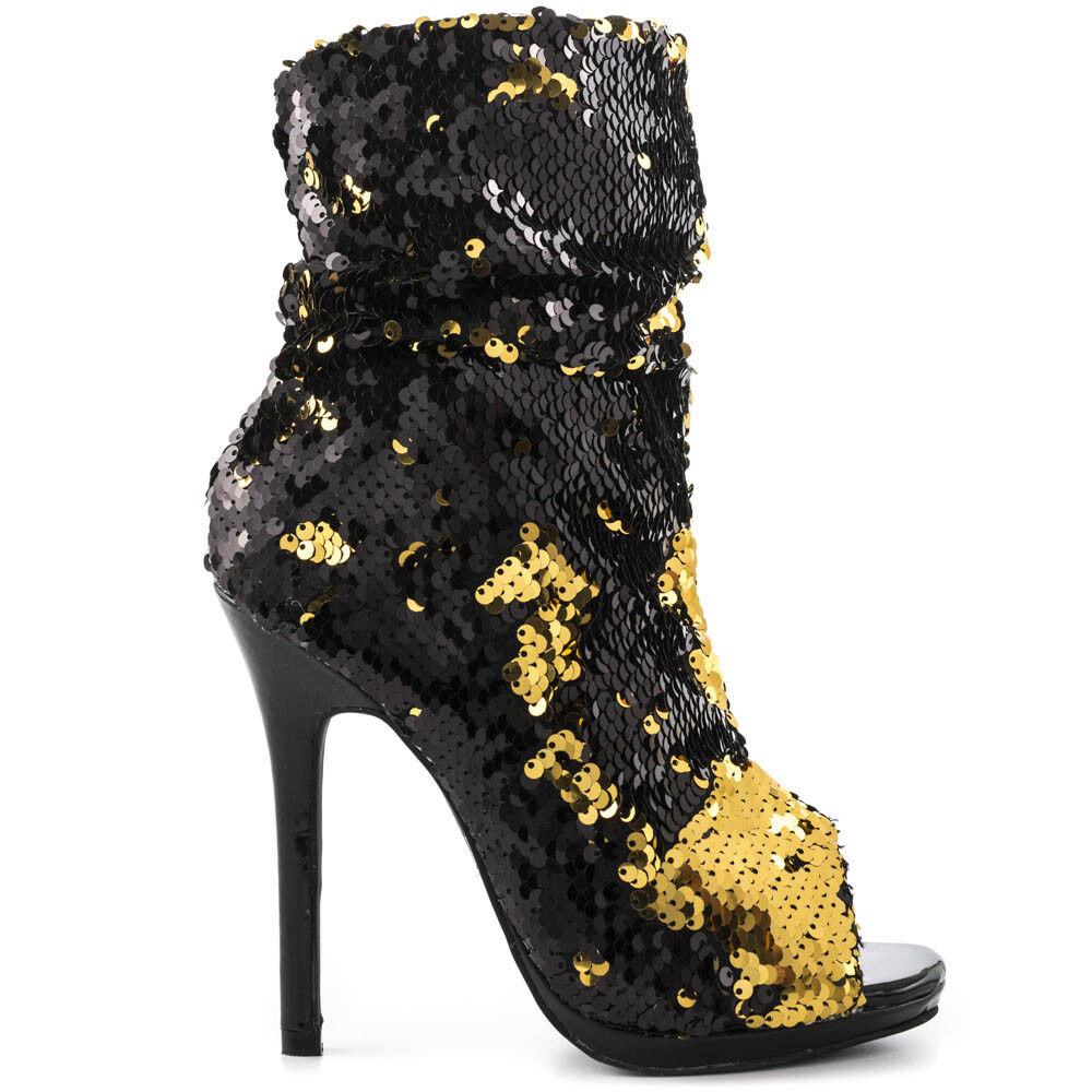 Lauren Lorraine Gal Blue Multi Glitter Side Zip Peep Toe Stiletto Boots