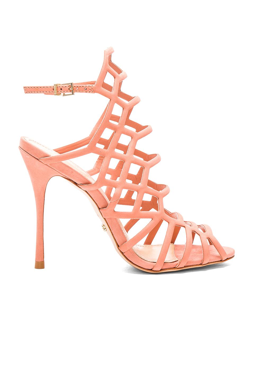 Schutz Juliana Sweat Peach Coral Single Sole Stiletto Heel Caged Sandal Pumps