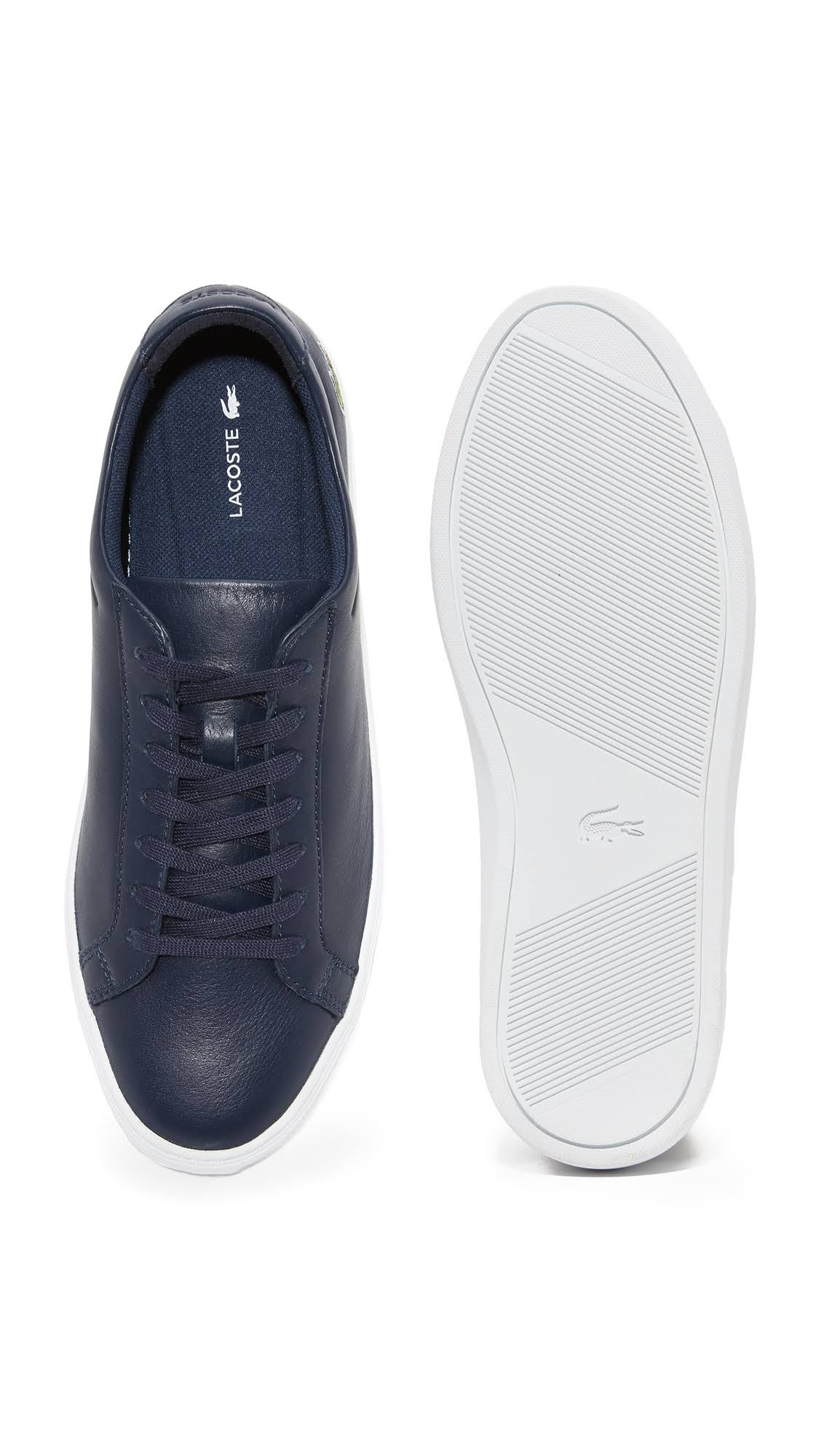 Lacoste-Men-039-s-L-12-12-116-1-Fashion-Sneaker-Navy-Leather-Lace-Up-Sneakers thumbnail 4