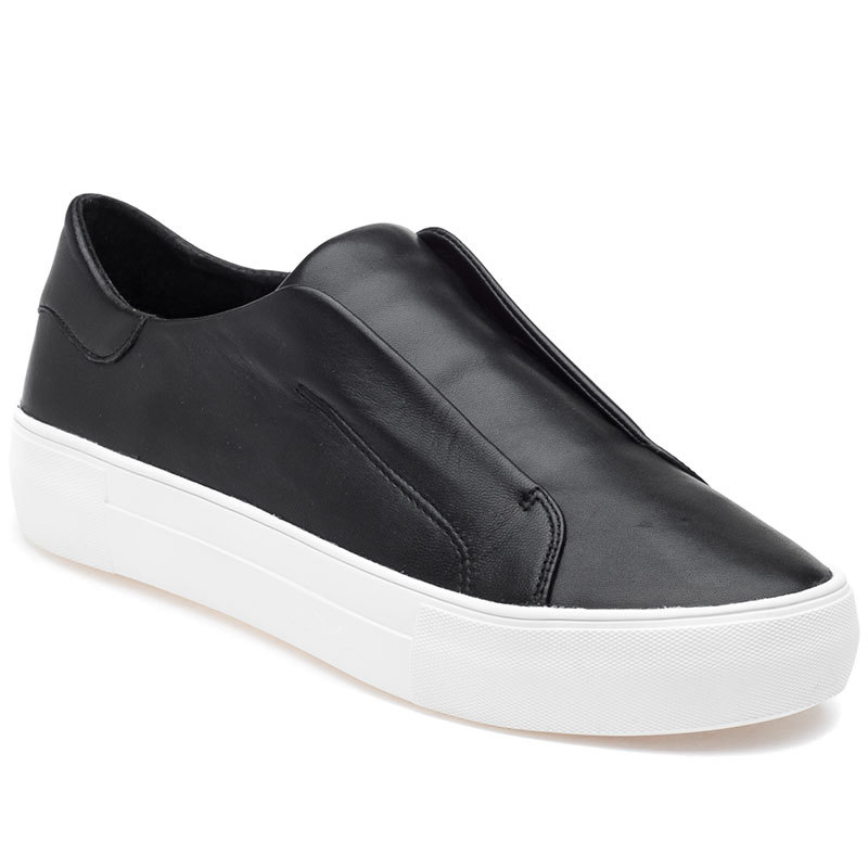 ALARA Black Leather Laceless White Sole