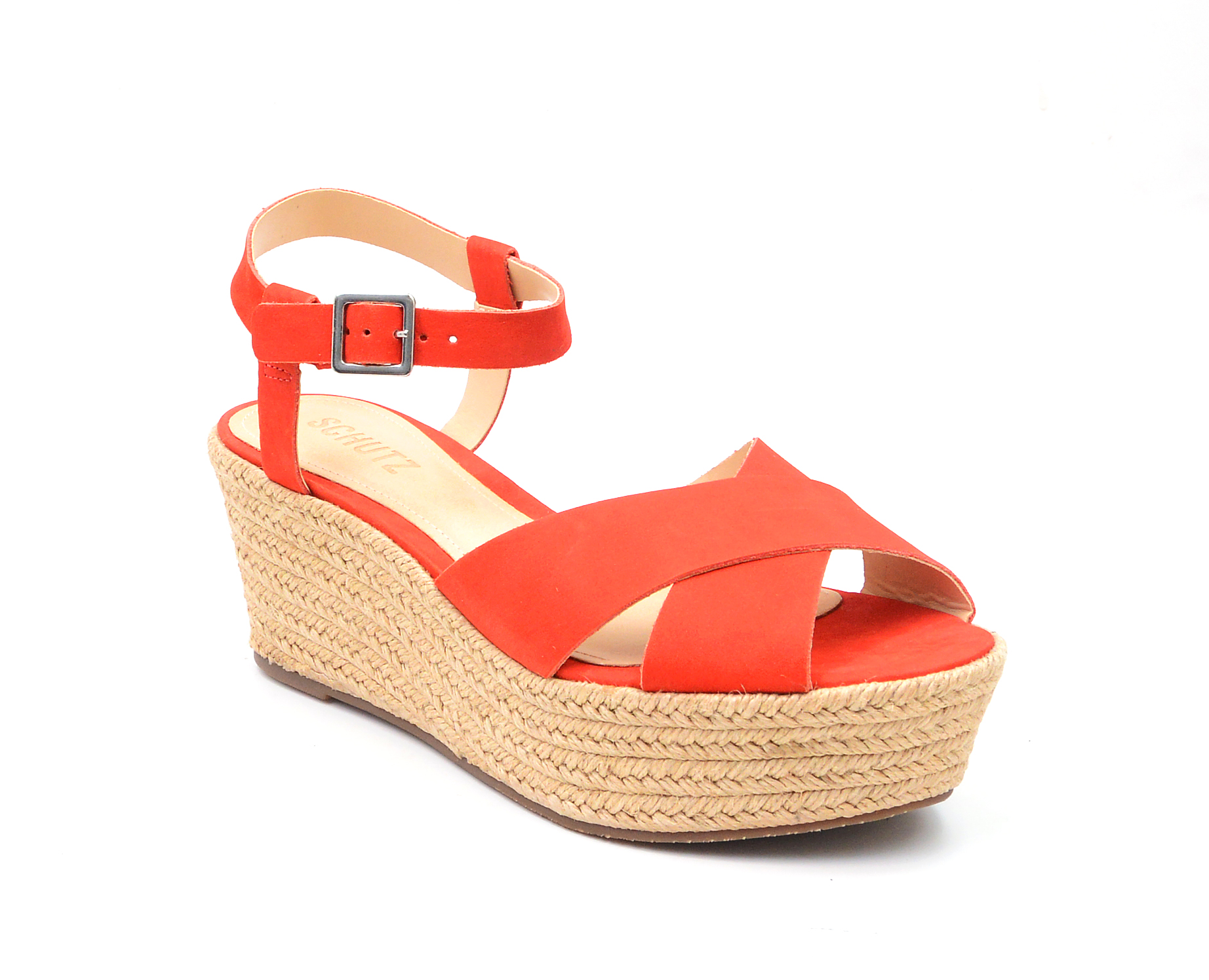 64039133e82 Details about Schutz Devinelli Nice Orange Strappy Open Toe Espadrille  Heeled Platform Sandals