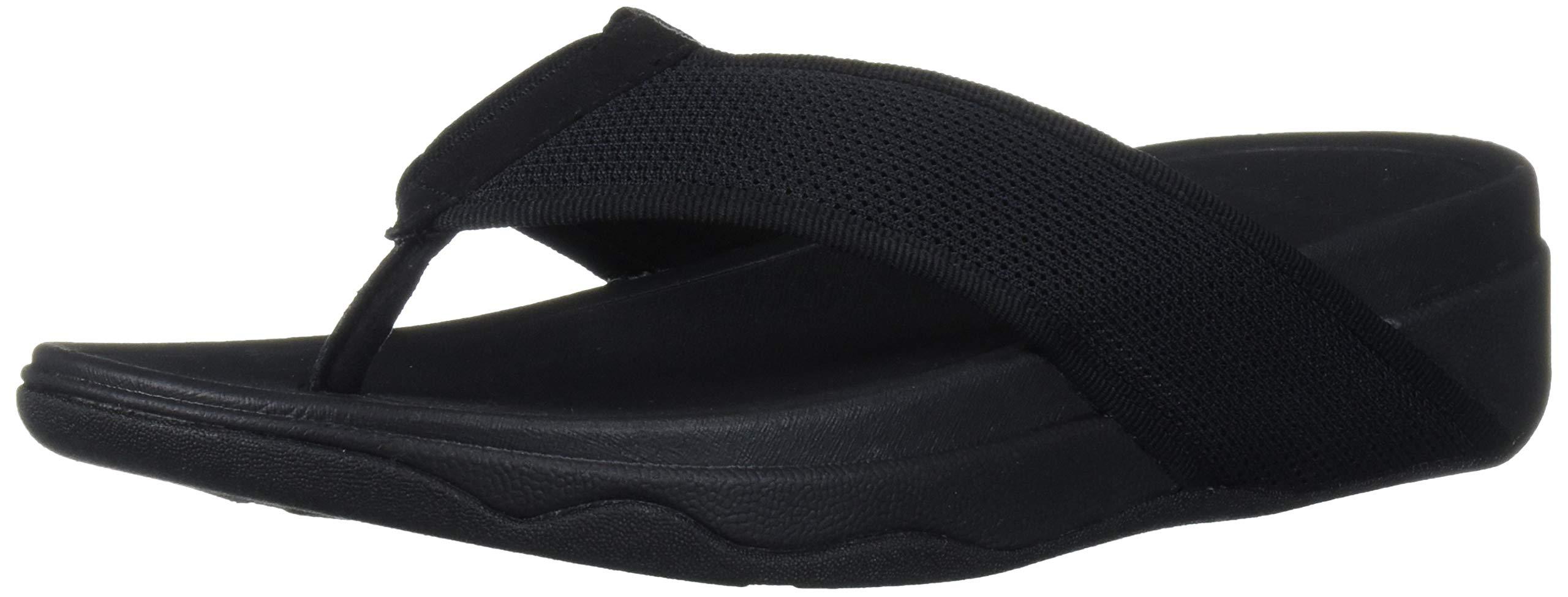 FitFlop Women's VIRRA MESH Sandal Black Thong Flip Flop Wedg