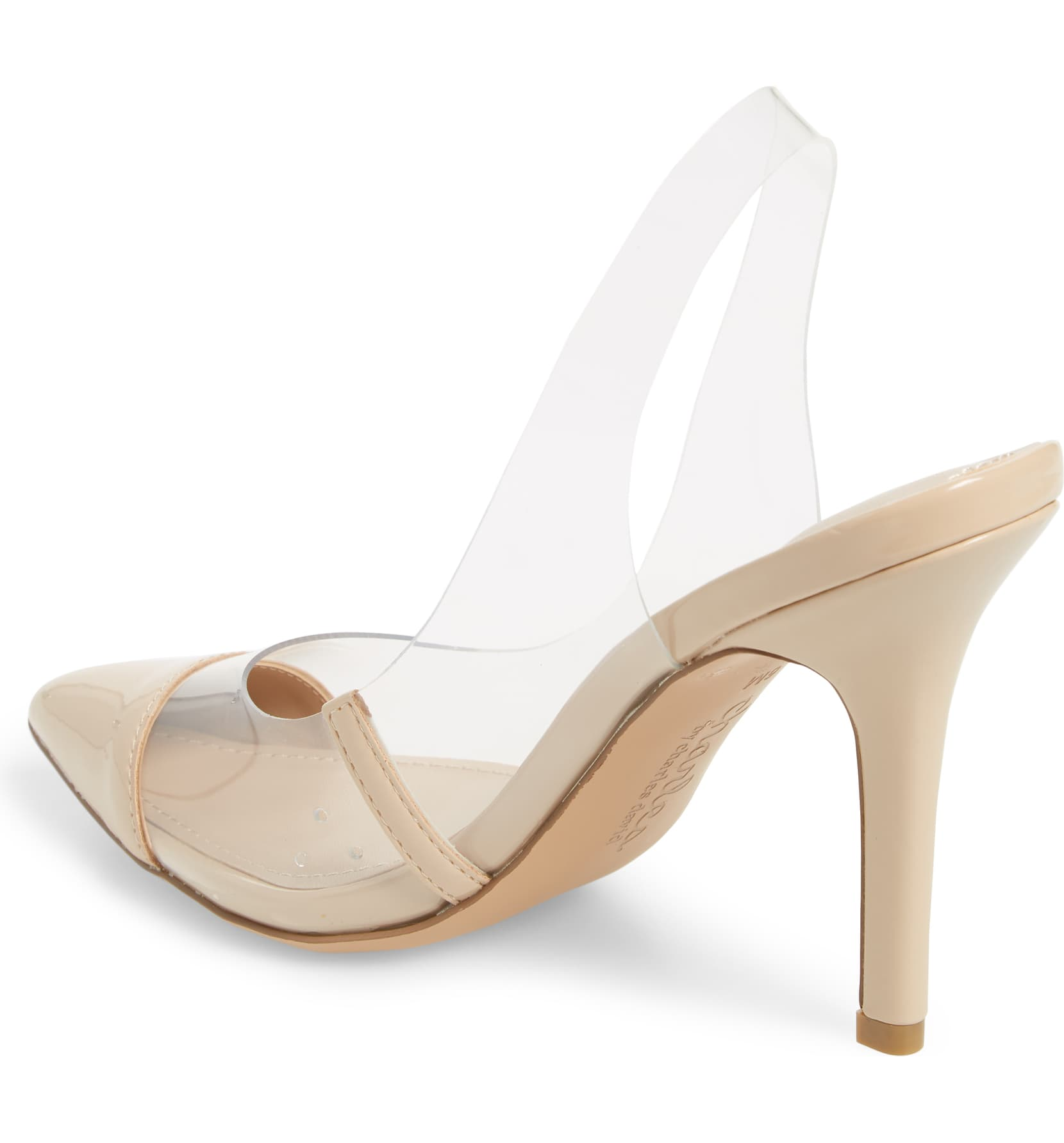 Nude Clear Sculptural Heel Slingback Pumps - CHARLES