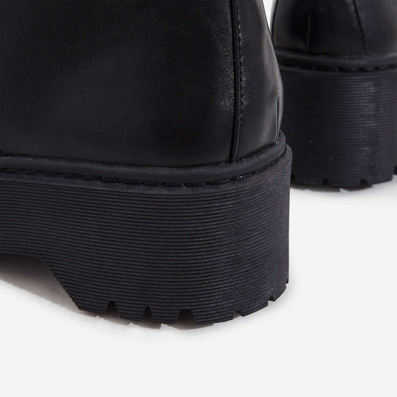LuxeModa CARGO Black Vegan Chunky Platform Lace-Up Combat Boot Pocket Pouch