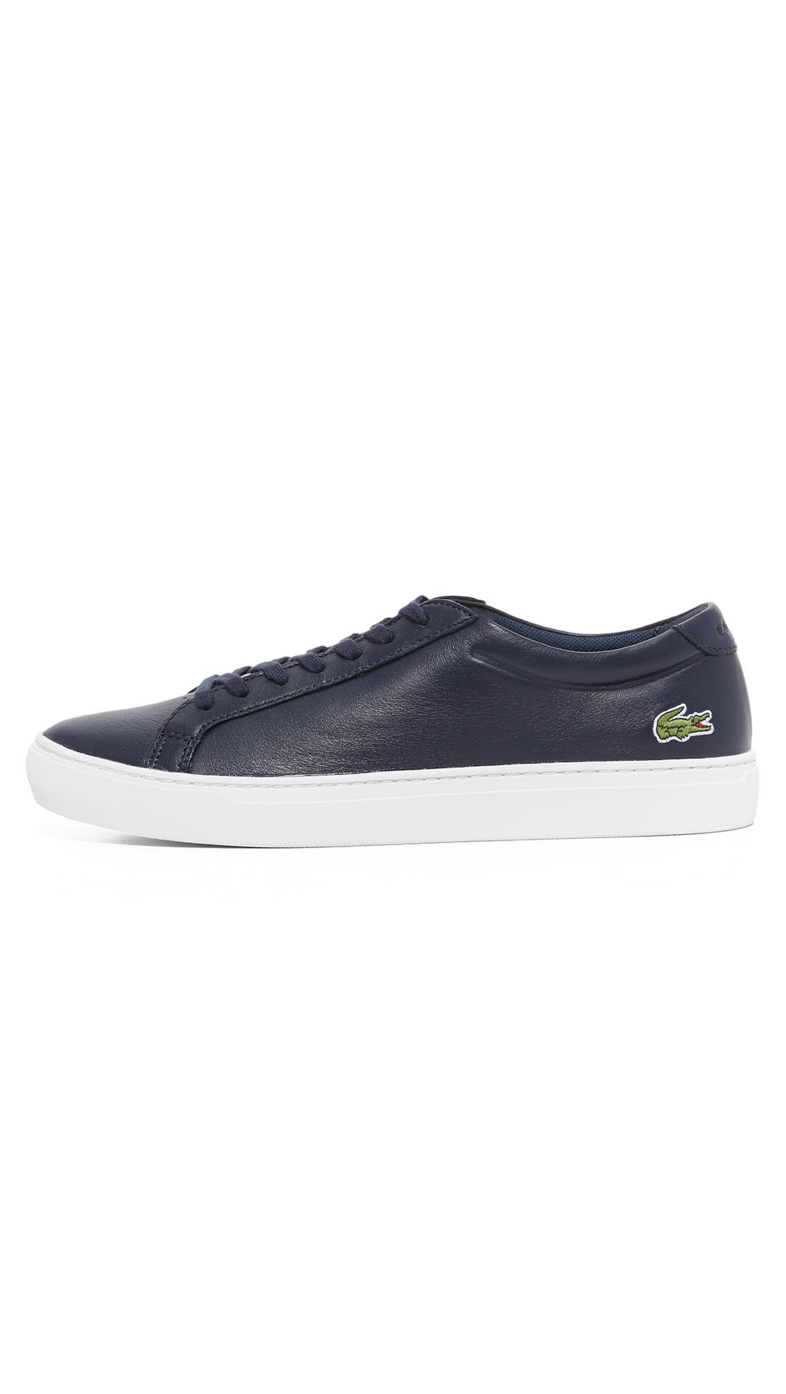 Lacoste-Men-039-s-L-12-12-116-1-Fashion-Sneaker-Navy-Leather-Lace-Up-Sneakers thumbnail 3