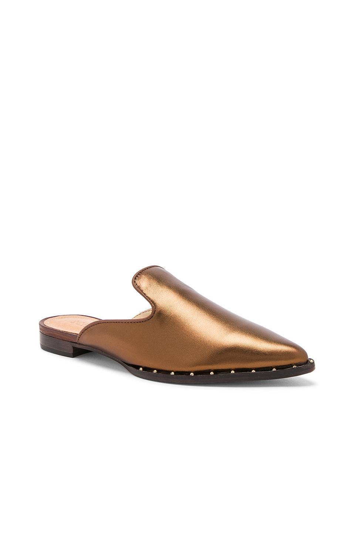 Schutz Tae Bronze Leather Flat Metallic Upper Studded Low Heal Slide