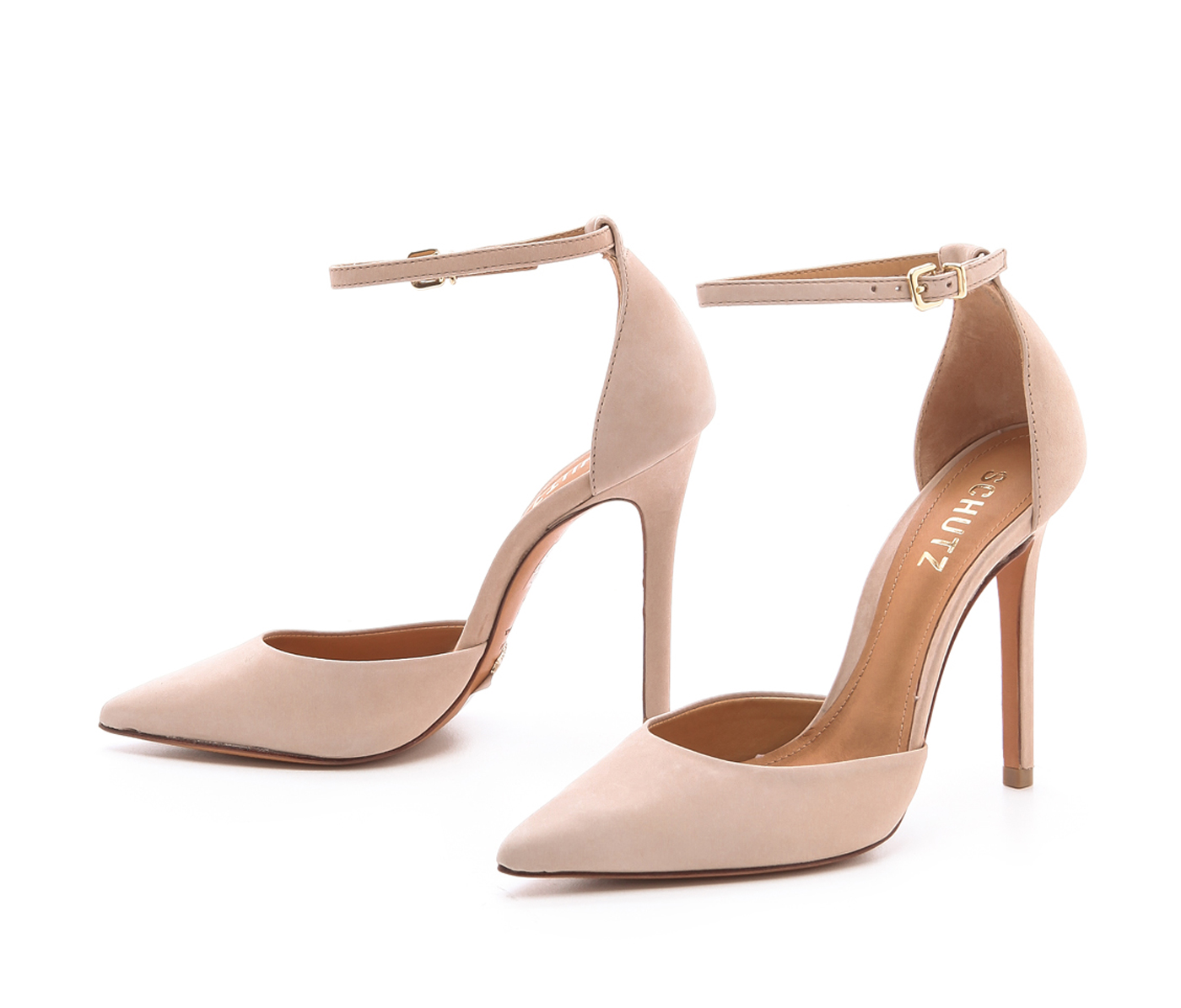 Schutz Irma Oyster Nude Leather Pointed