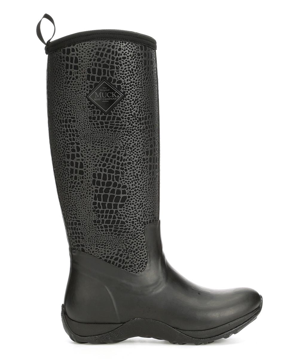 Muck Arctic Adventure Black Croc Waterproof Snow Rain Fleece