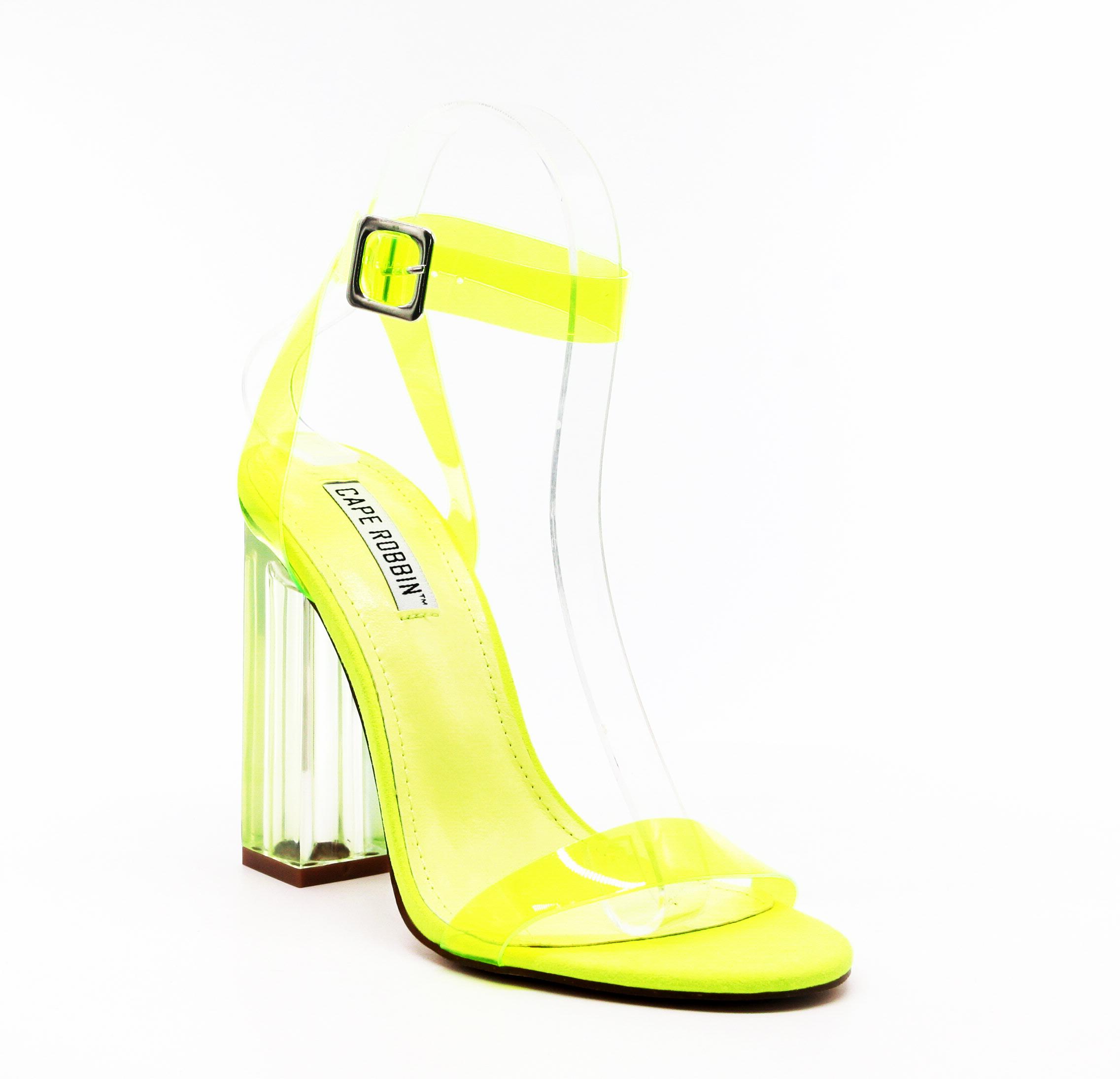 Neon Yellow High Heel Sandals