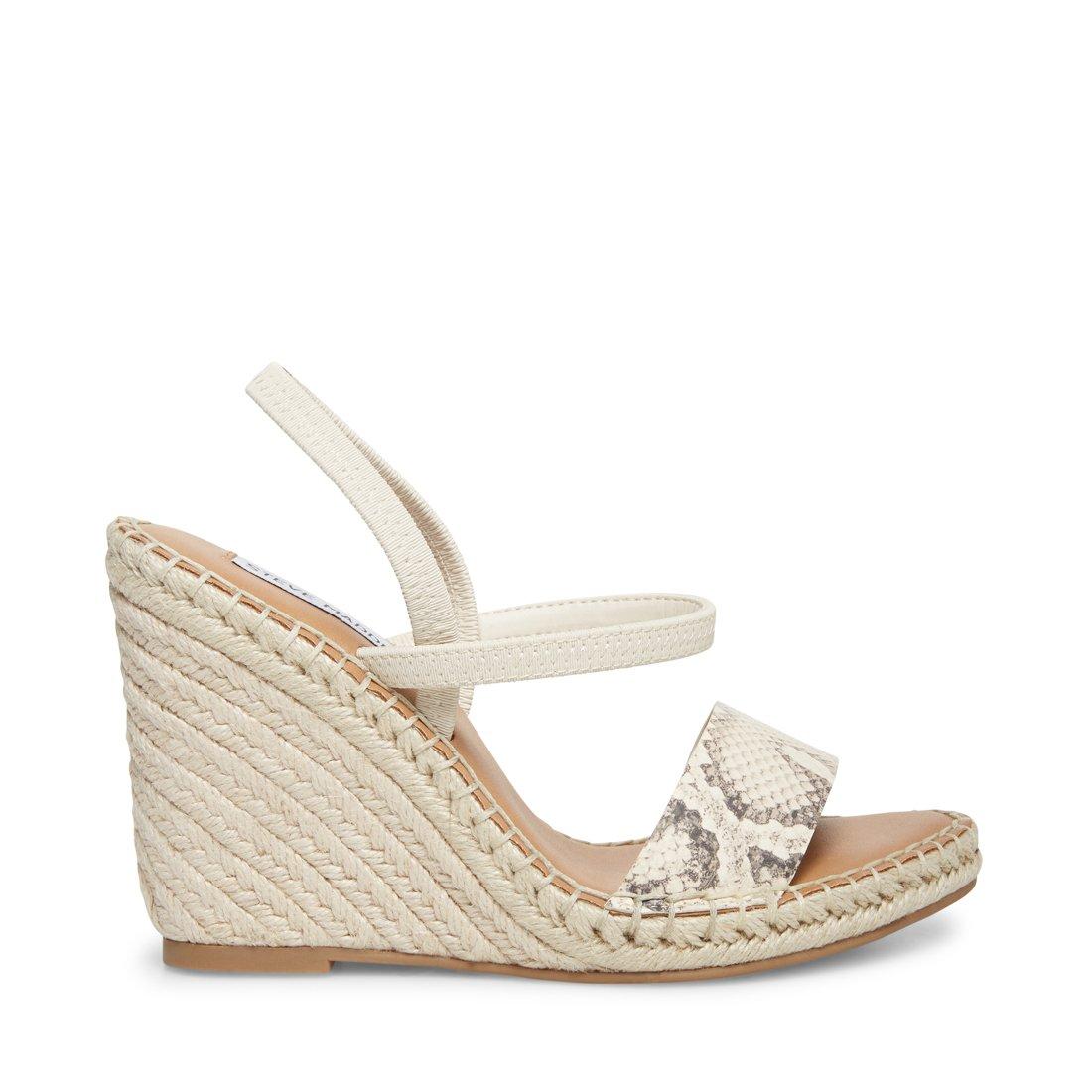 Steve Madden Women/'s Mckenzie Espadrille Wedge Sandals BONE SNAKE