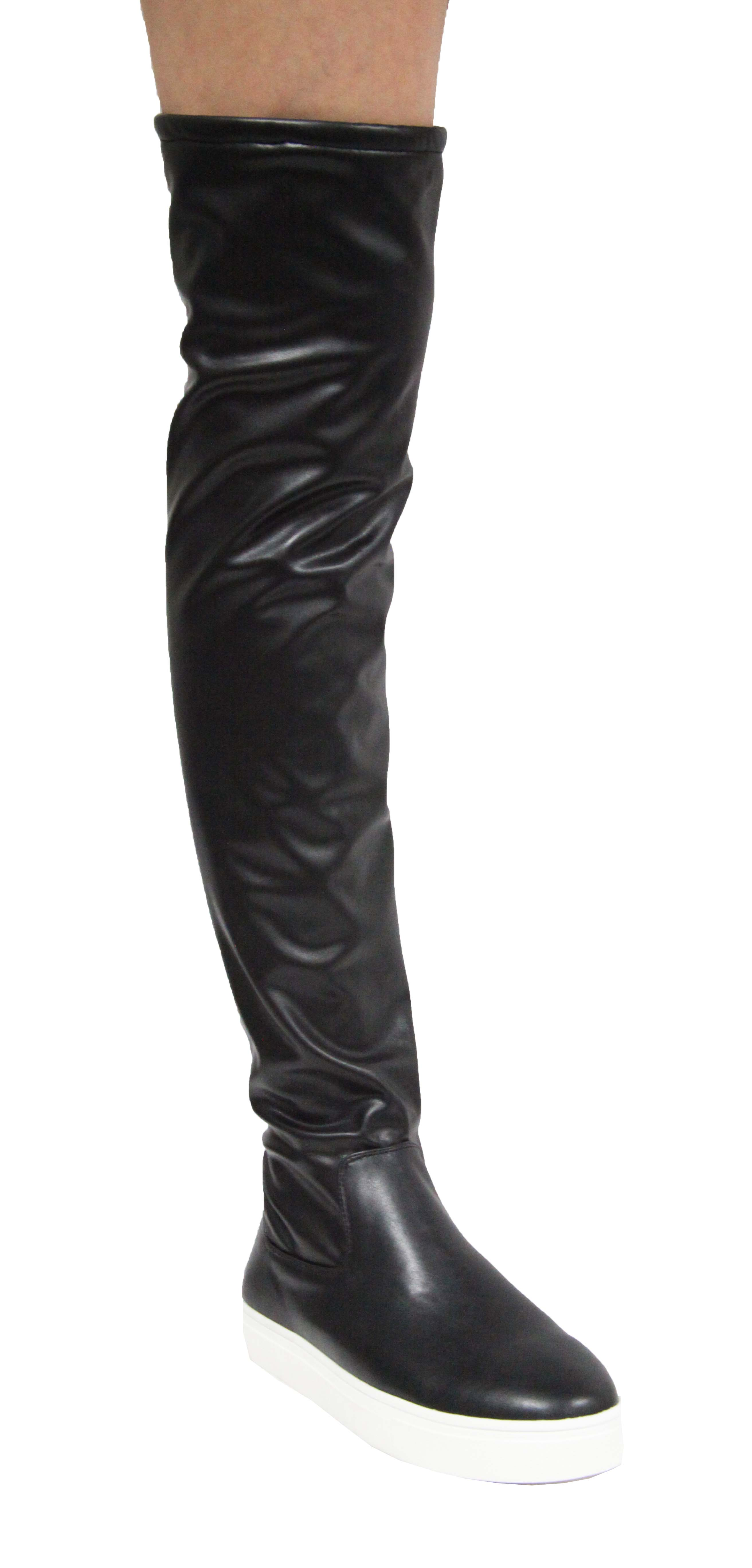 Cape-Robbin-Adelaide-21-Black-Leather-Sneaker-Bottom-Over-Knee-Fitted-Boots thumbnail 3