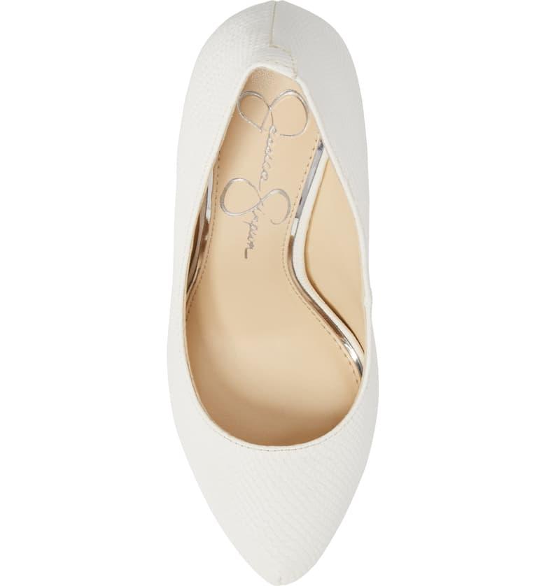 Jessica-Simpson-Parisah-White-Rumba-Snake-Leather-Platform-High-Heel-Pumps thumbnail 6