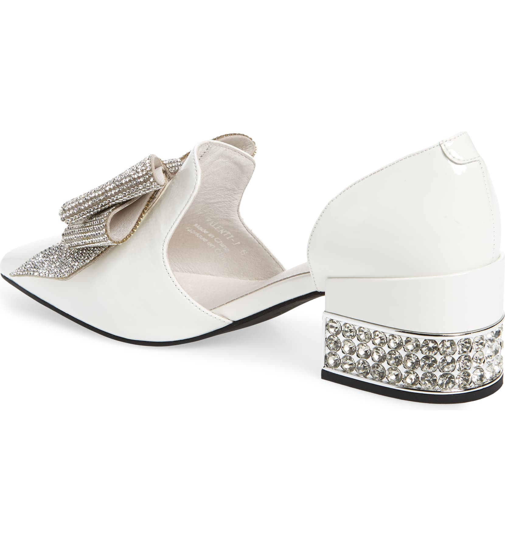 Jeffery-Campbell-Valenti-White-Silver-Patent-Bow-Metallic-Heel-Loafer thumbnail 3