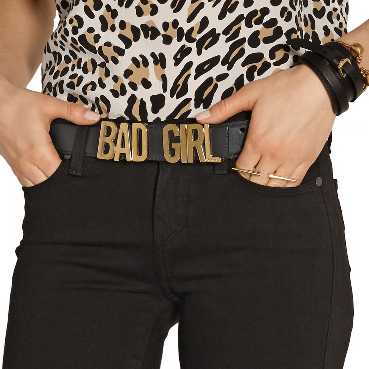 MOSCHINO Couture Bad Girl leather belt Black Leather Gold Bu