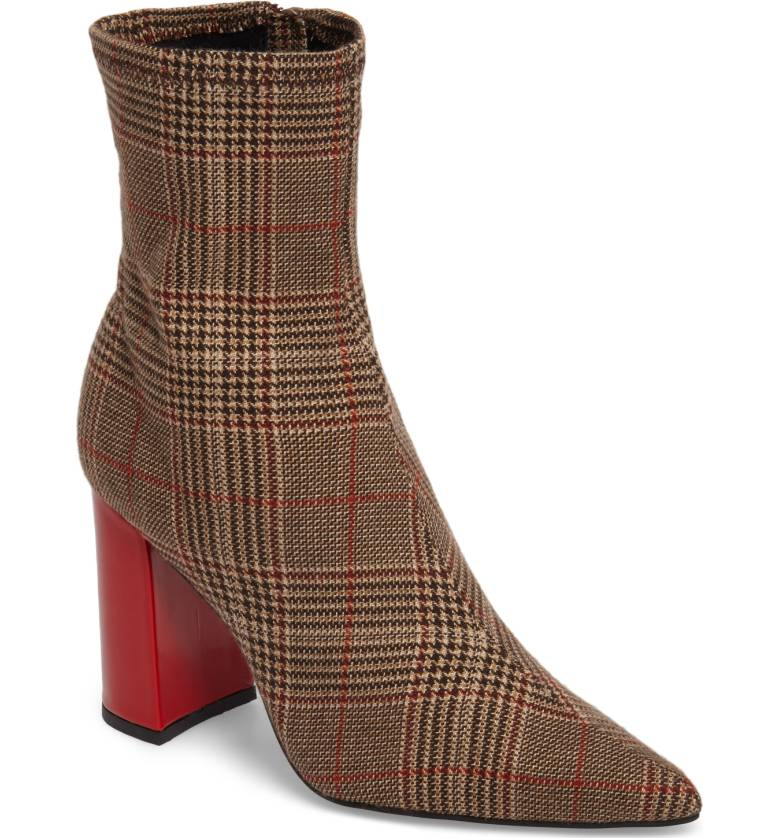 outlet store professional sale various styles Details about Jeffrey Campbell Siren Brown Plaid Red Block Heel Pointed Toe  Ankle Bootie