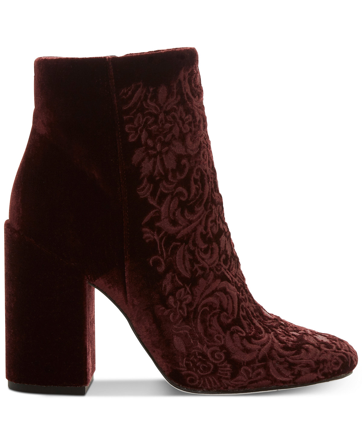 Jessica Simpson Wovella Rouge Noir Embroidered Block-Heel Ankle Booties