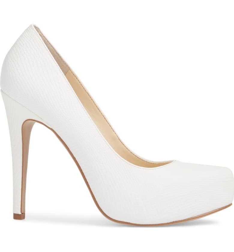 Jessica-Simpson-Parisah-White-Rumba-Snake-Leather-Platform-High-Heel-Pumps thumbnail 4