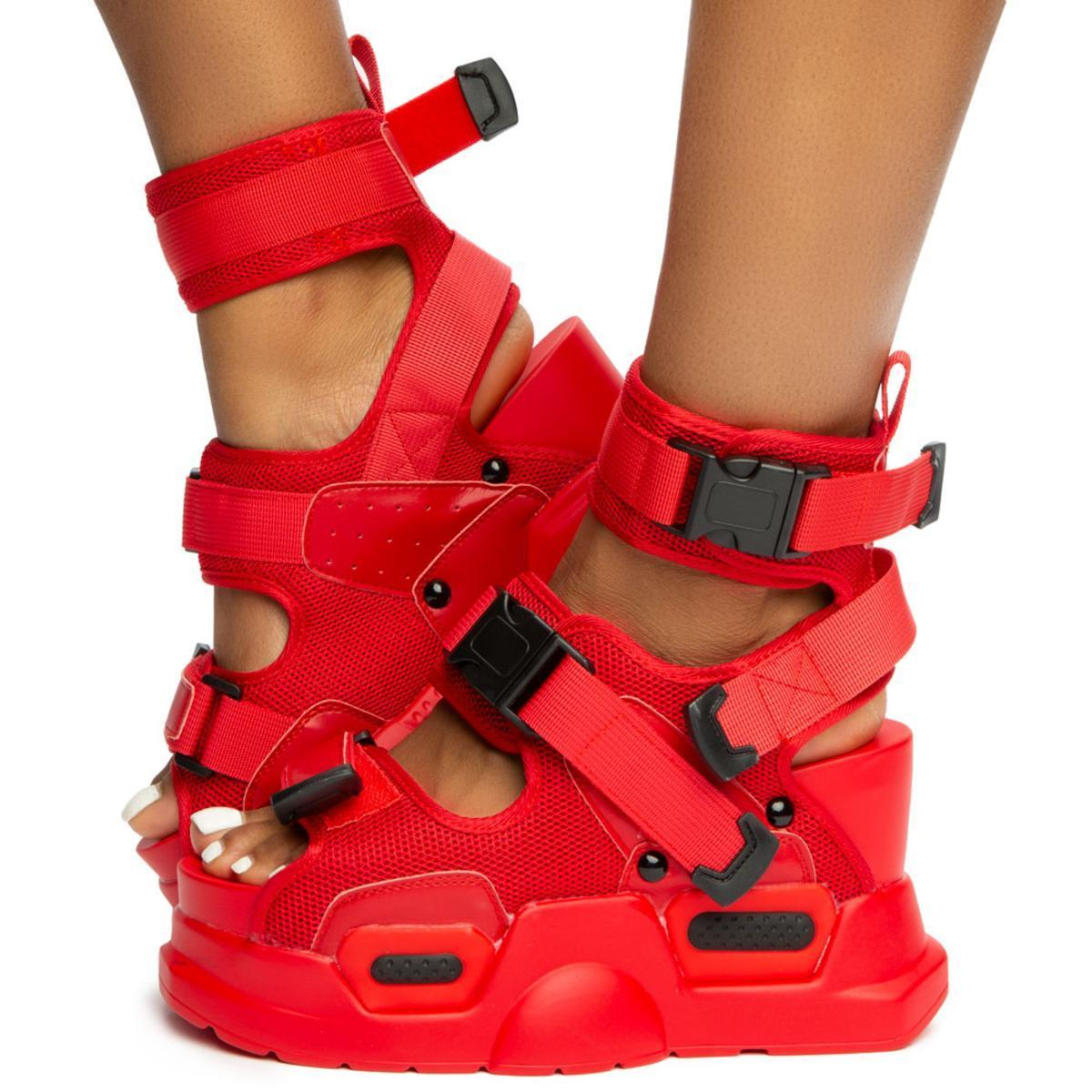 Anthony-Wang-Mulberry-01-Red-Sneaker-Sporty-Chunky-Platform-Wedge-Sandal thumbnail 2