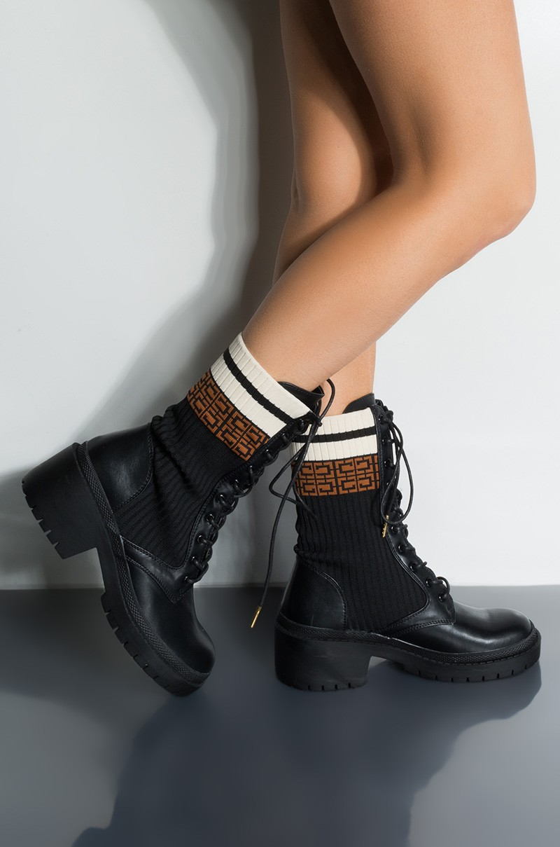 Platform Heel Combat Boot | eBay