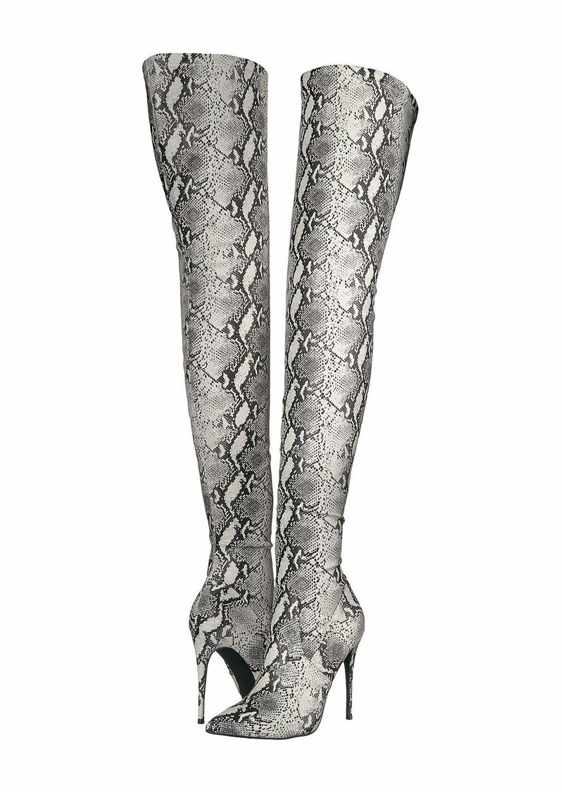 Steve Madden Women/'s  DEMANDING Thigh High Boot Dress,NATURAL SNAKE