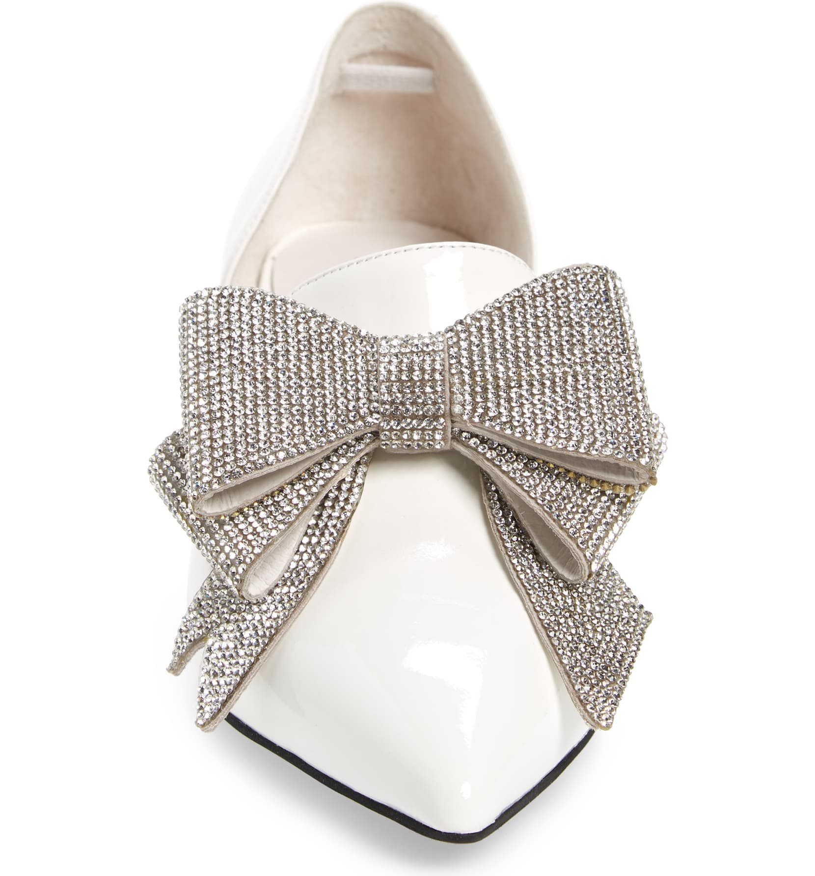 Jeffery-Campbell-Valenti-White-Silver-Patent-Bow-Metallic-Heel-Loafer thumbnail 5