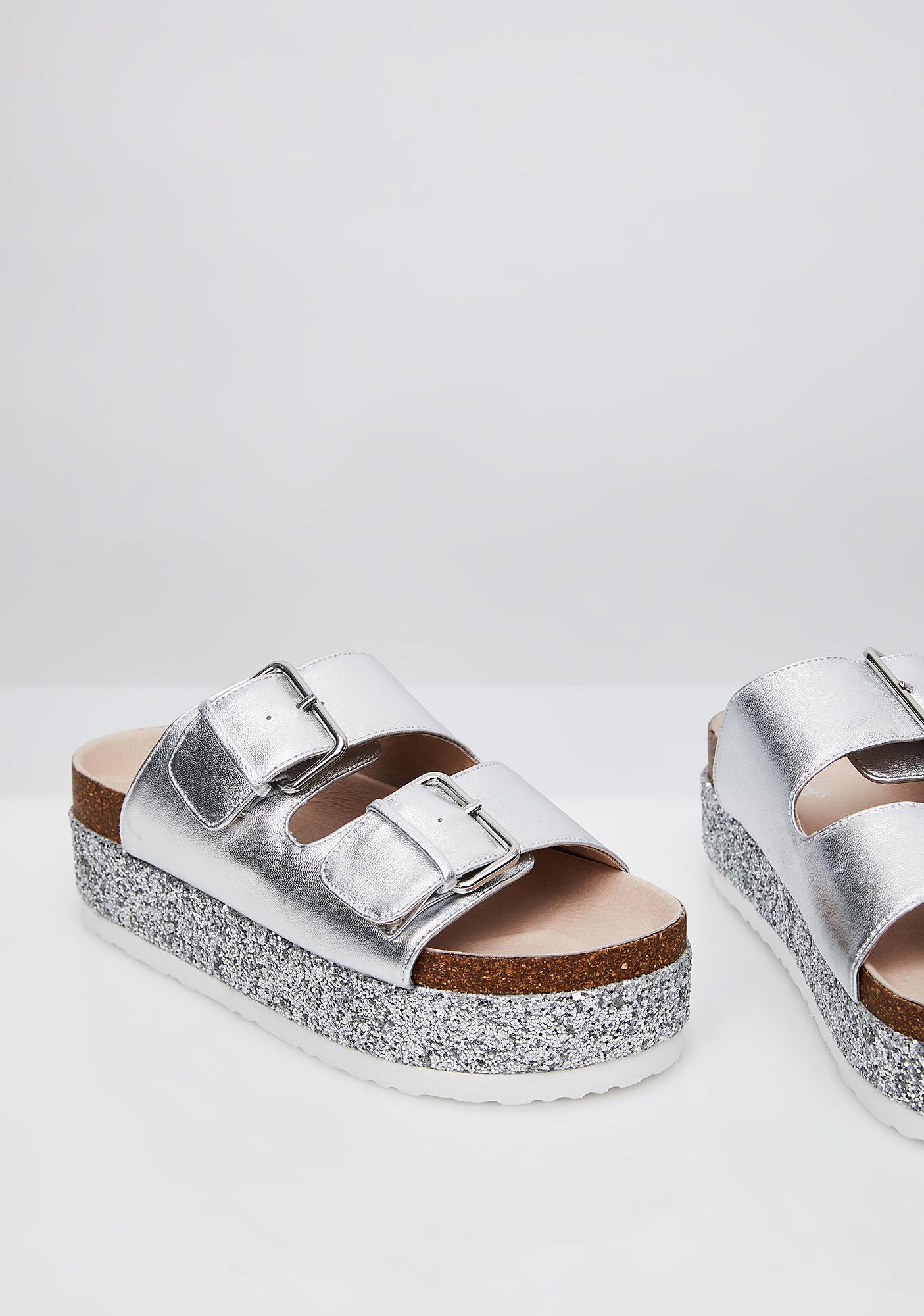 SHELLYS LONDON Dita Silver lugged Platform Modern two-strap Metallic Sandal
