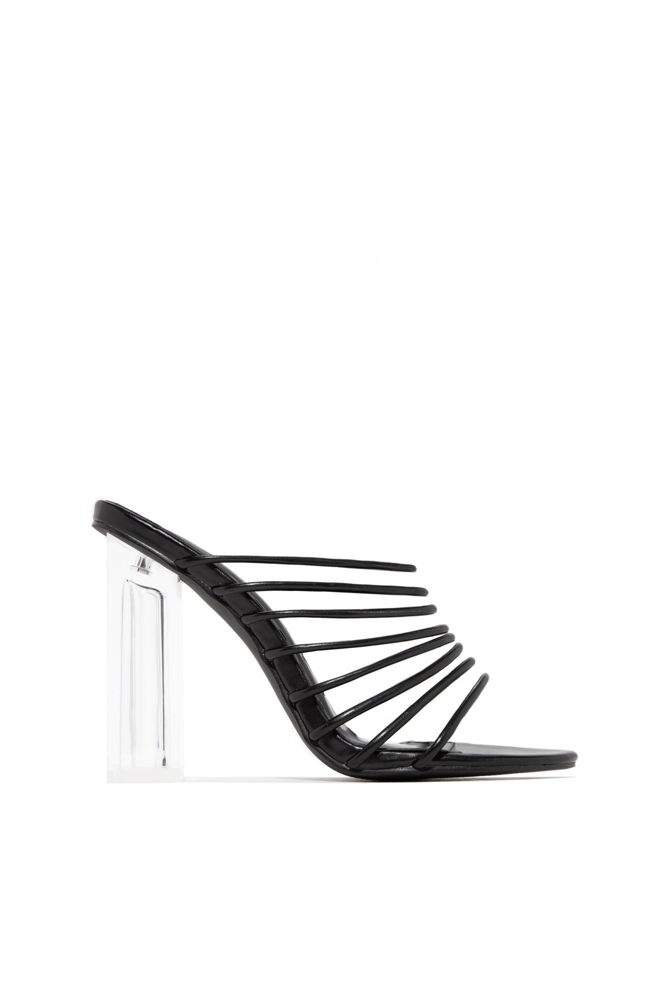 8a2578ccca4 Details about CAPE ROBBIN Fia Strappy Open Toe Chunky Clear Heel Mule Pump  Sexy Sandals