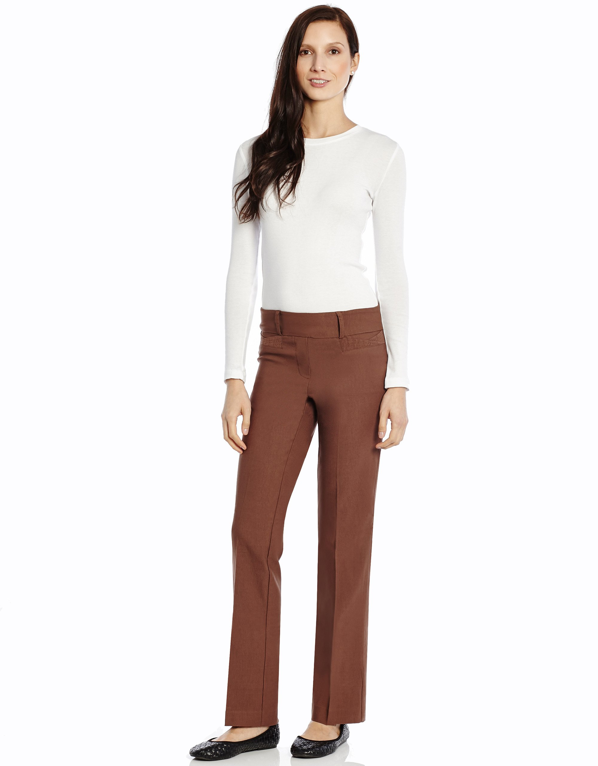 4-18 Leveret Women/'s Taupe Stretchable Slight Boot Cut Comfort Pant Pull On
