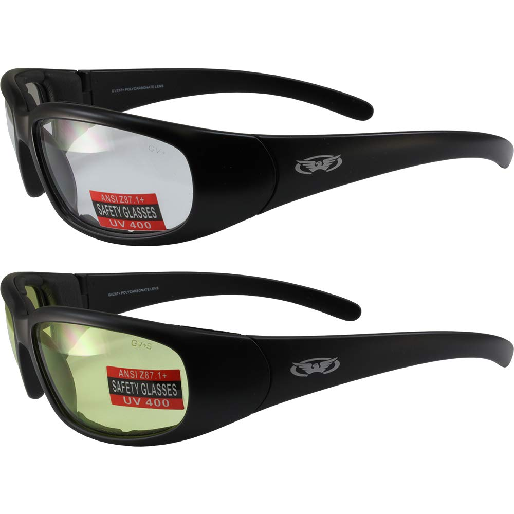 Chicago Padded Motorcycle Glasses Black Frame Clear Scratch-Resistant Lens