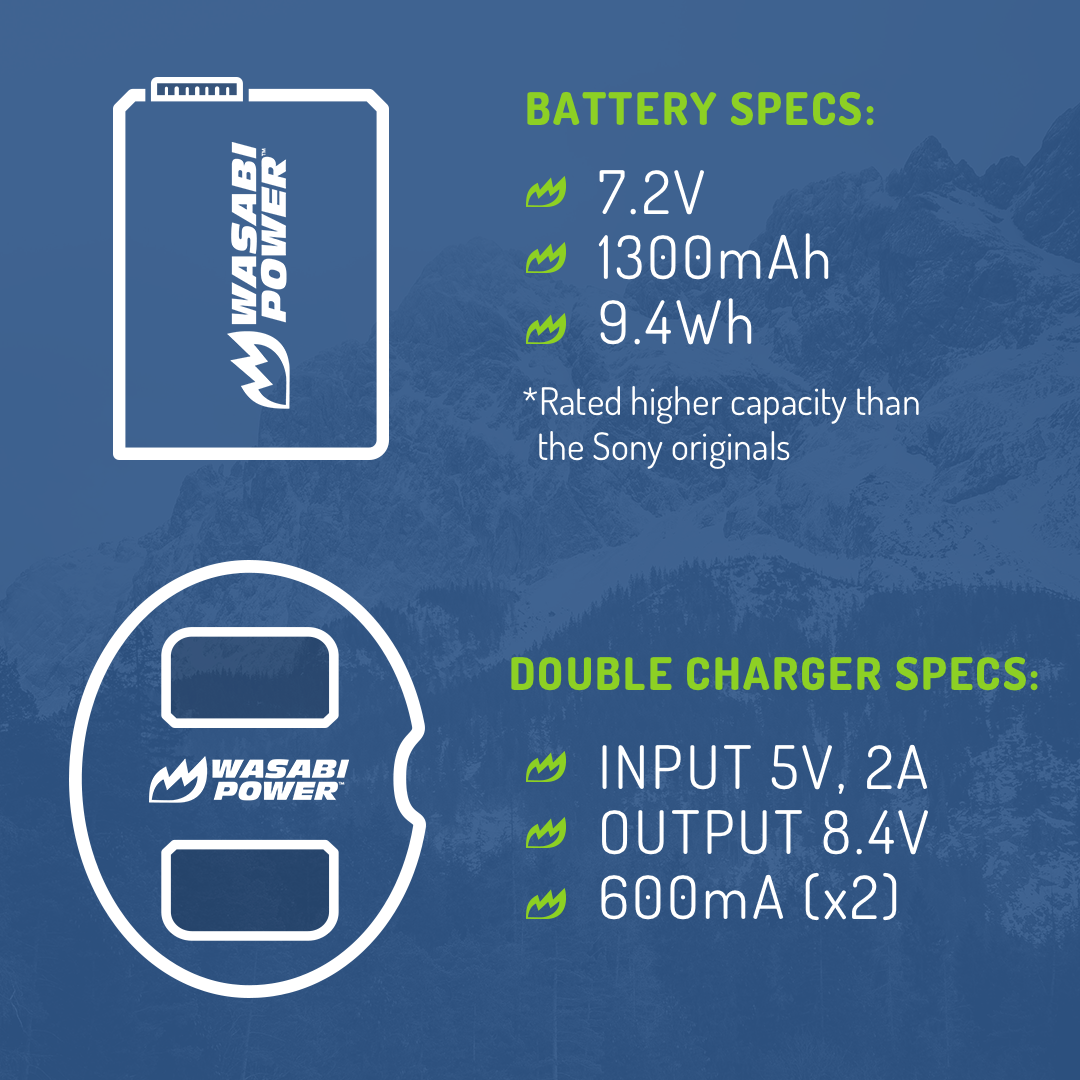 Wasabi-Power-Battery-2-Pack-and-Dual-USB-Charger-for-Sony-NP-FW50 thumbnail 7