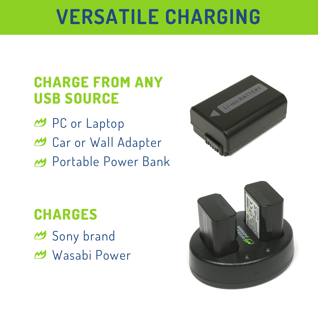 Wasabi-Power-Battery-2-Pack-and-Dual-USB-Charger-for-Sony-NP-FW50 thumbnail 6