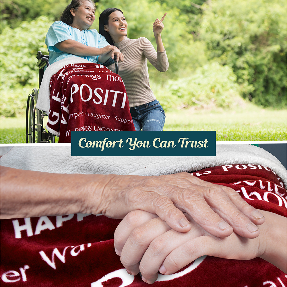 Positive Energy Healing Support Soft Fleece Throw Blanket Get Well Hospital Gift