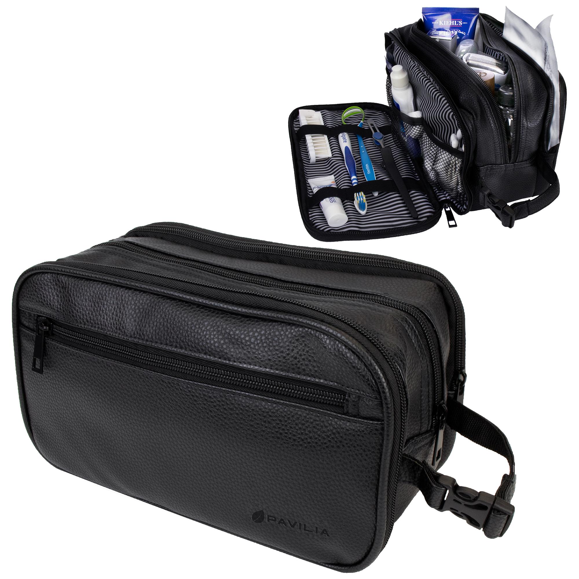 Mens Toiletry Bag With Zipper Pu Leather Case Organizer Portable Travel Dopp Kit Ebay