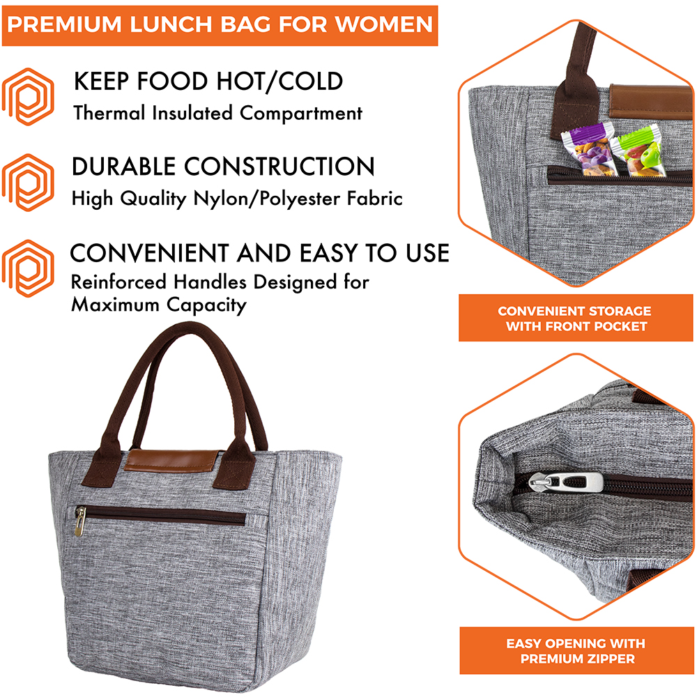 miniature 18 - Lunch Bag for Women Thermal Insulated Lunch Food Tote Purse Work Office Picnic