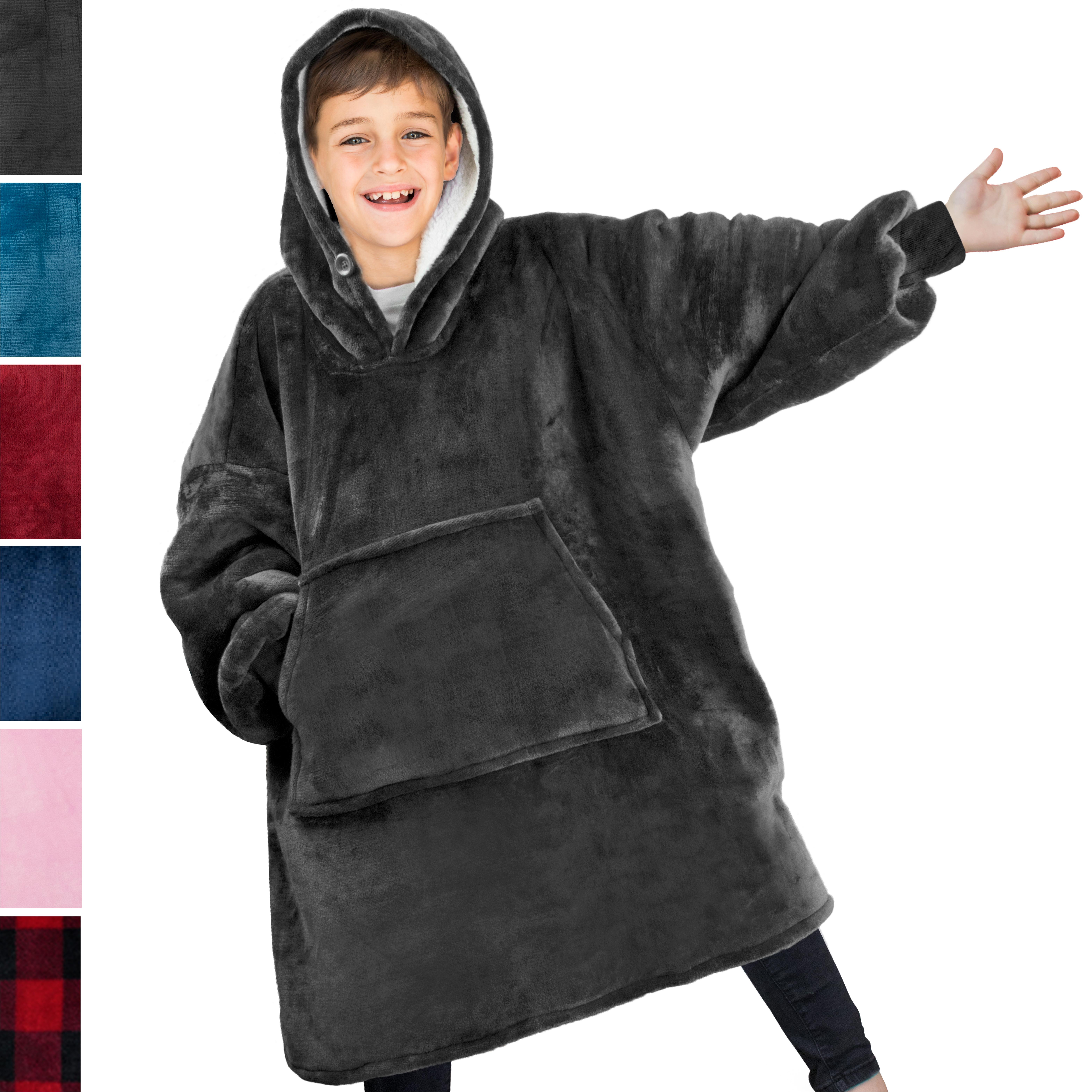 Comfy Hoodie Sweatshirt Wearable Blanket For Kids With Sleeves Pocket Oversized Ebay