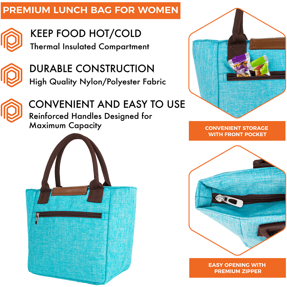 miniature 53 - Lunch Bag for Women Thermal Insulated Lunch Food Tote Purse Work Office Picnic