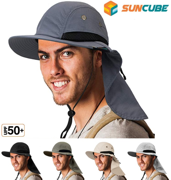 Hiking Fishing Hat Outdoor Sport Sun Protection Neck Cover Flap Cap Wide Brim