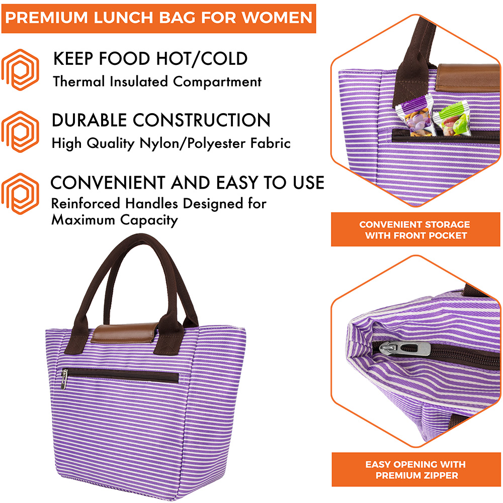 miniature 46 - Lunch Bag for Women Thermal Insulated Lunch Food Tote Purse Work Office Picnic