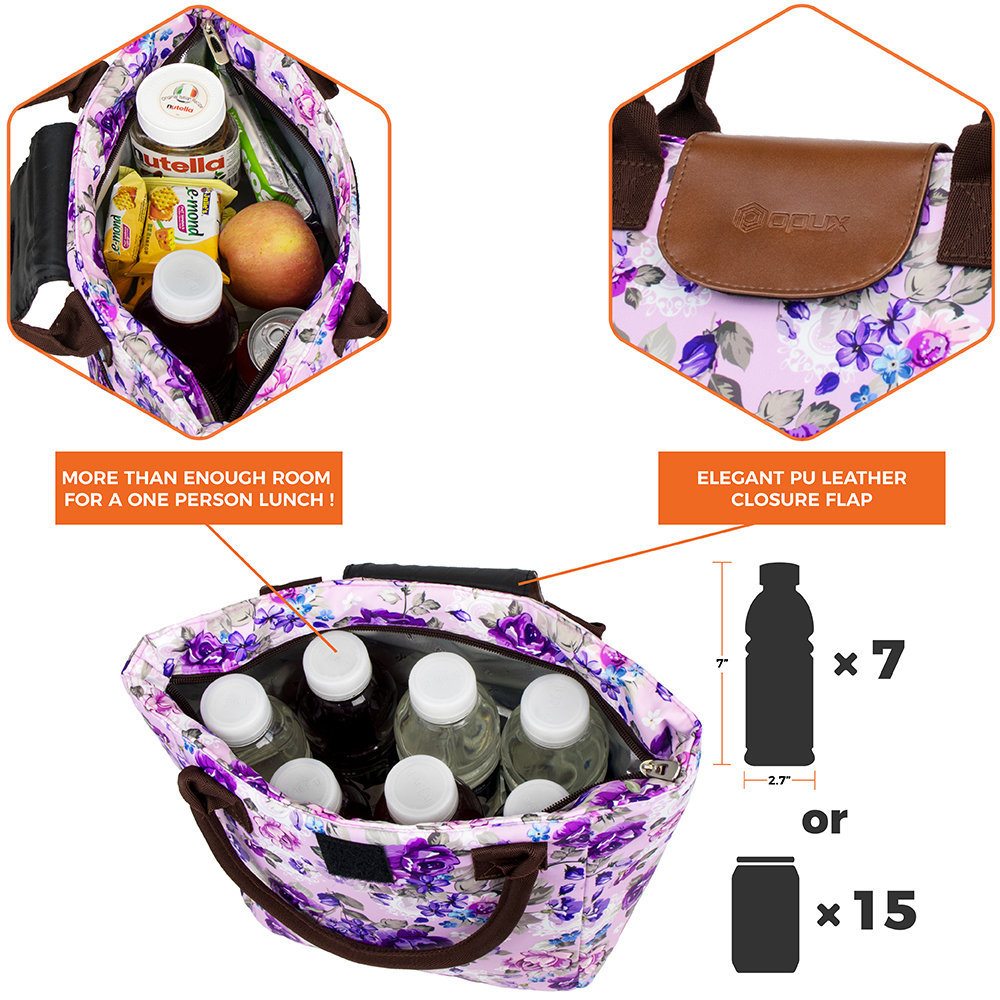 miniature 41 - Lunch Bag for Women Thermal Insulated Lunch Food Tote Purse Work Office Picnic