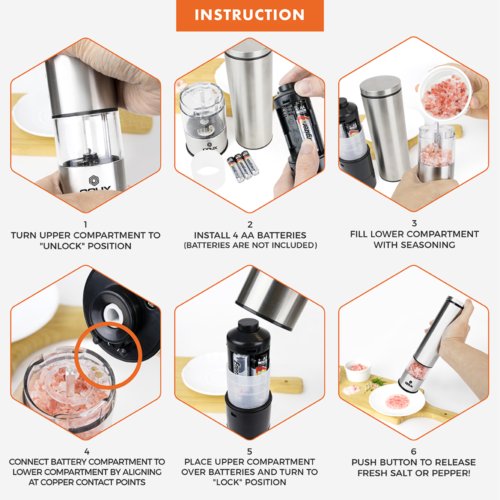 Electric Grinder Salt and Pepper Automatic Adjustable Coarseness Stainless Steel