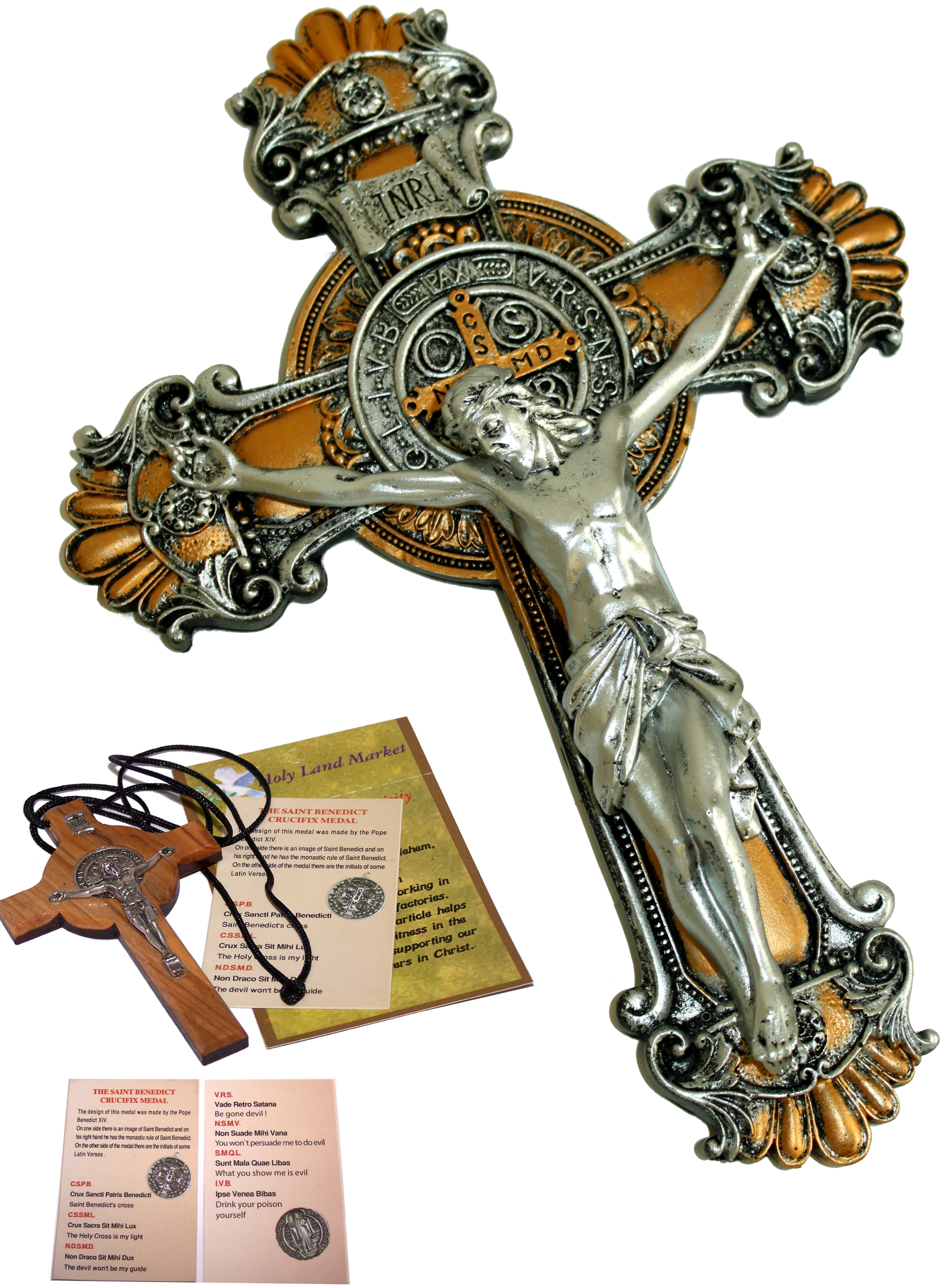 St Benedict Cross Crucifix Medal  Made of Olive Wood From Holy Land