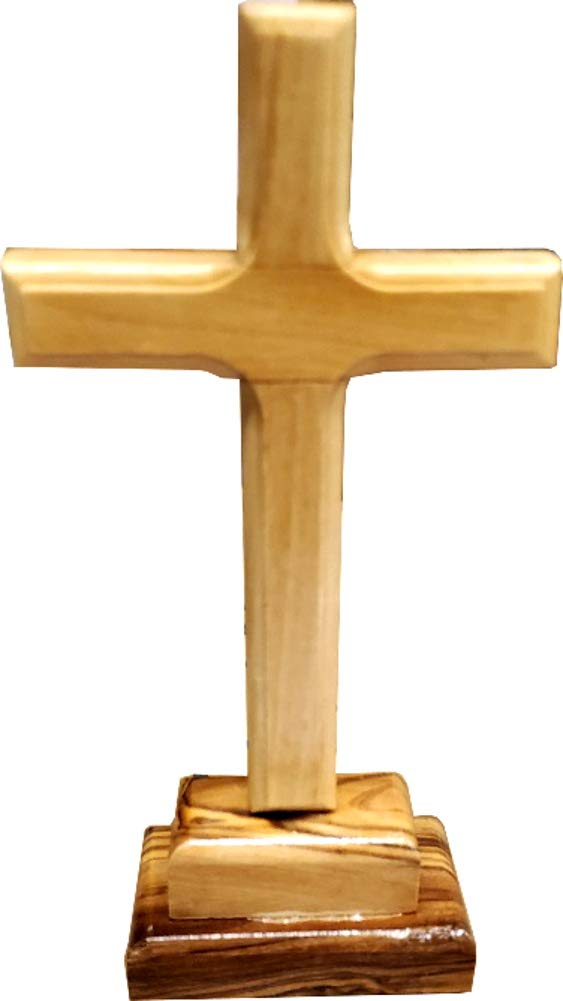 Olive wood Cross from Bethlehem with a Certificate and Lord prayer card 8 Inches
