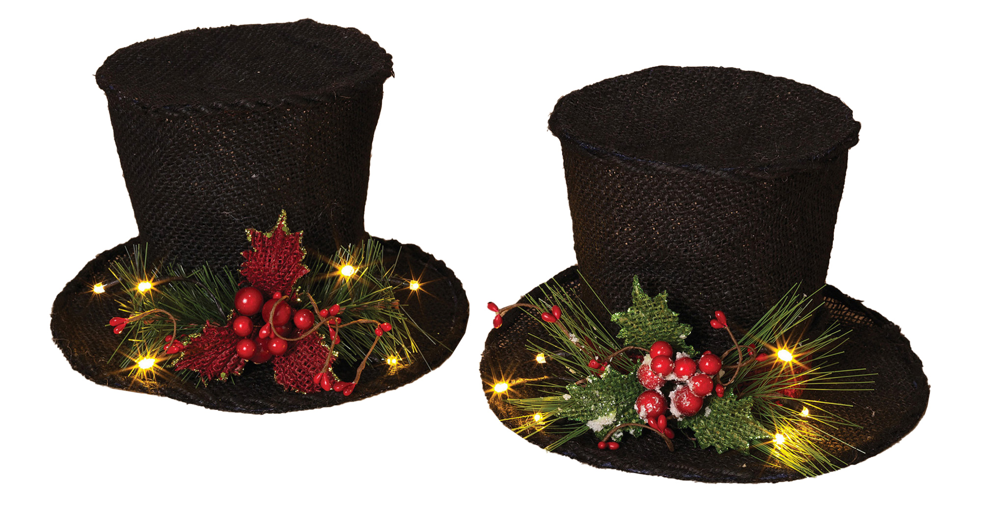 Details about Lighted Black Burlap Snowman Caroler Top Hat Set Christmas Holly Berries Decor