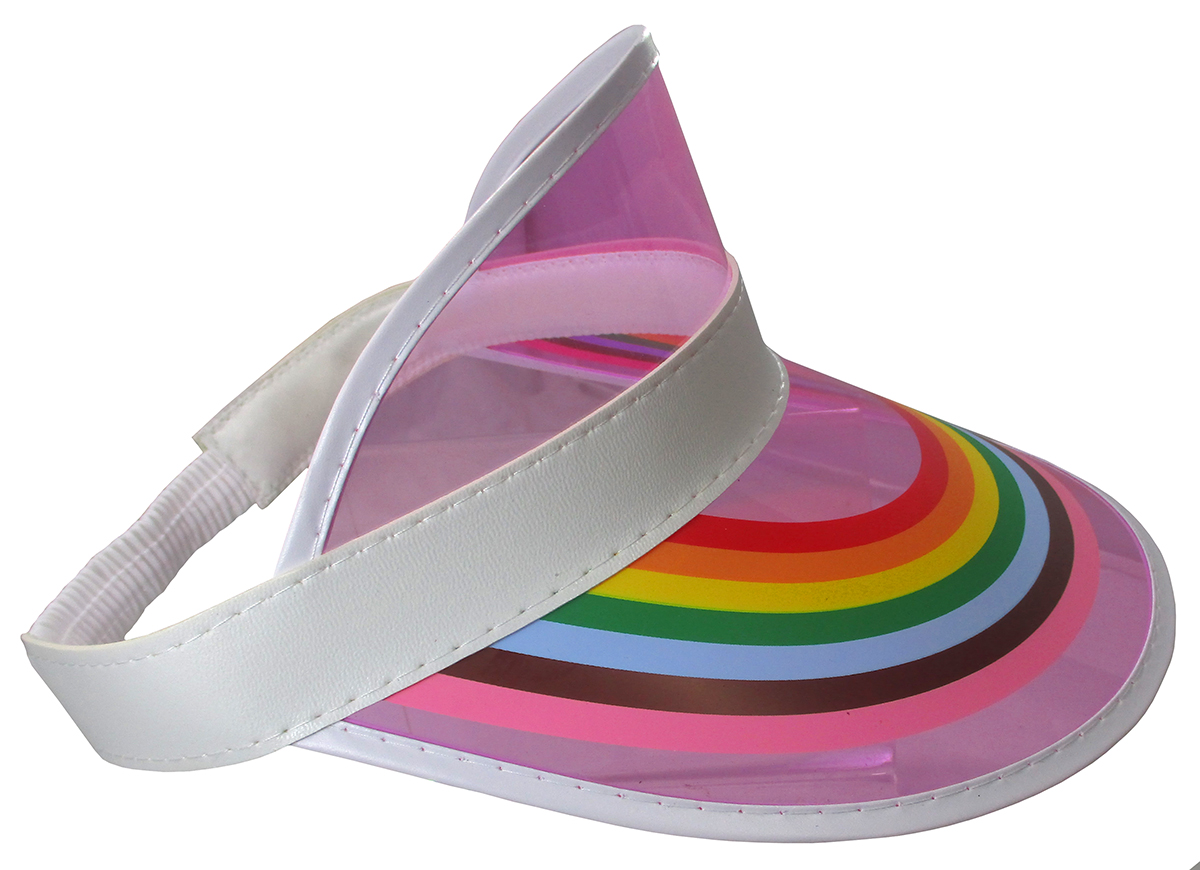 thumbnail 11 - Retro Rainbow Color Sun Visor Beach Plastic Vegas Golf LGBTQ Gay Pride Hat