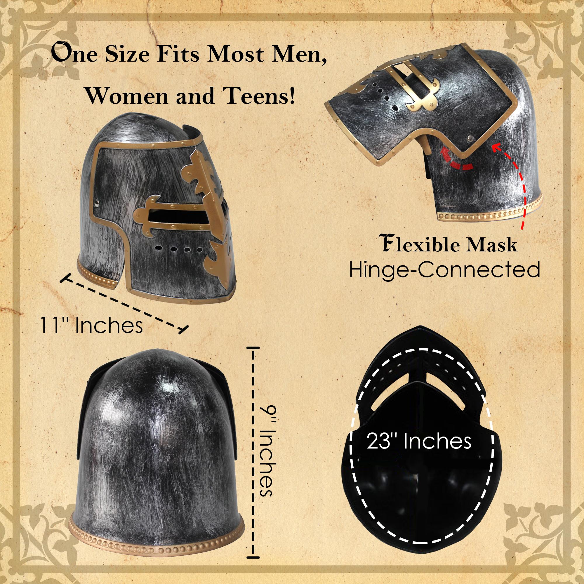 thumbnail 9 - Silver Pewter Knight Roman Armor Crusader Helmet Mask Medieval Adult Costume