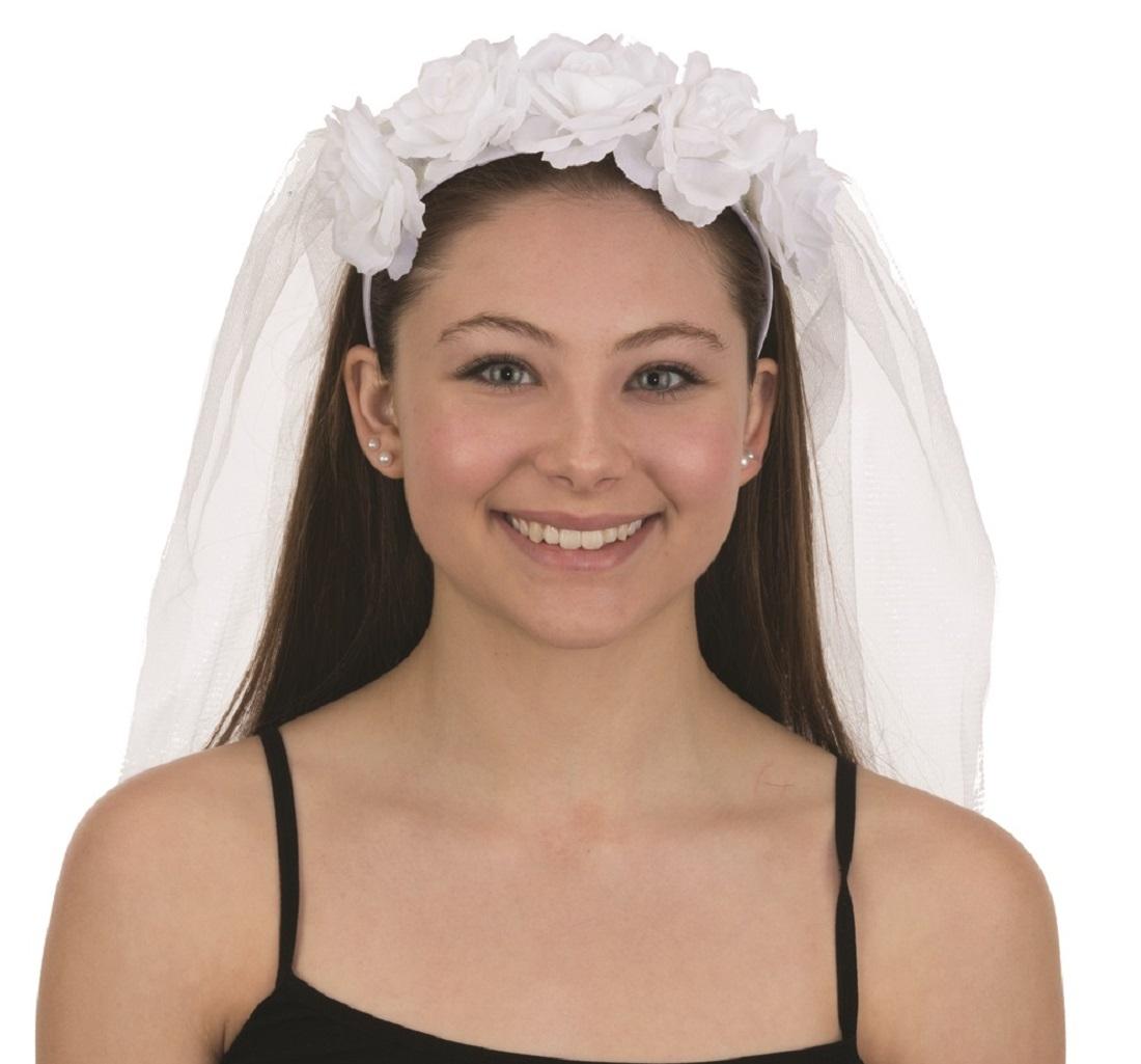 Handmade White Flower With Net Headband Bridesmaid Bride Flower Headband Bachelorette Party Music Festival H097