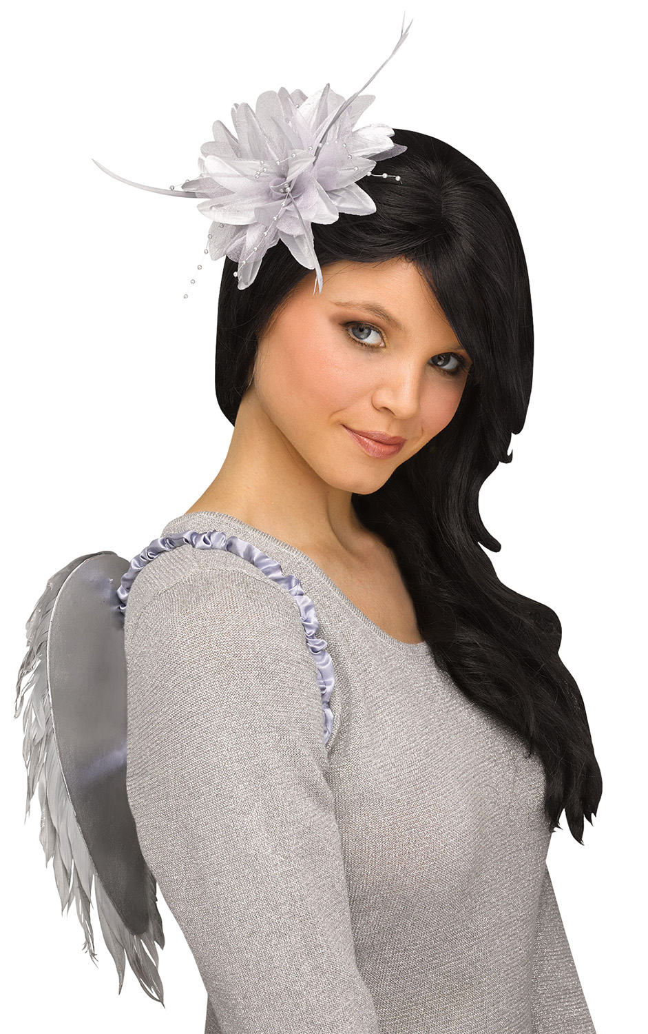 thumbnail 7 - Deluxe-Womens-Small-Glittery-Feather-Angel-Wings-Halloween-Costume-Accessory